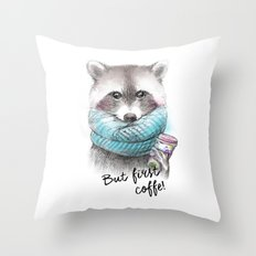 raccoon pencil and watercolor illustration Throw Pillow