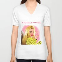 clueless V-neck T-shirts featuring I Totally Paused - CLUELESS by Dylan Bonner