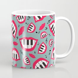 Piano smile pattern in grey&red Coffee Mug