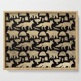 Elegant black faux gold cute wolfs bears ducks pattern Serving Tray
