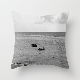 Two Boats in the Ocean Throw Pillow