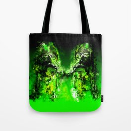 wolves hate monday splatter watercolor green Tote Bag