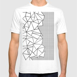Abstraction Outline Grid on Side White T-shirt
