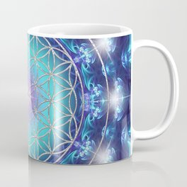 Flower Of Life Mandala Fractal turquoise Coffee Mug