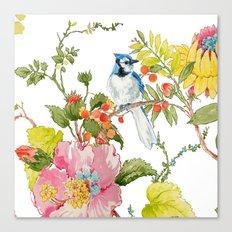 Bluejay Bird Day Floral Canvas Print