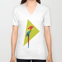 parrot V-neck T-shirts featuring parrot by William