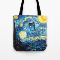 starry night Tote Bags featuring STARRY by MiliarderBrown