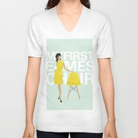 eames V-neck T-shirts featuring My first Eames chair | By Melissa Medwyk by 1THINGapp