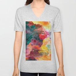 Bright Vibrant Large Watercolor Wash Painting Unisex V-Neck