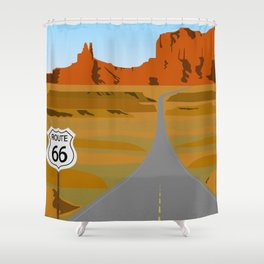 Route 66 Highway Illustration Shower Curtain