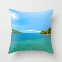 indonesia Throw Pillows featuring Rainbow in Indonesia by World Photos by Paola