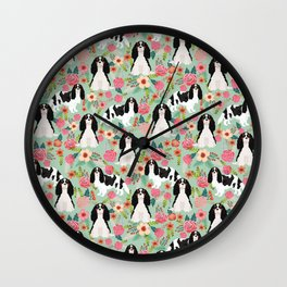 Cavalier King Charles Spaniel floral flowers dog breed pattern dogs mint Wall Clock