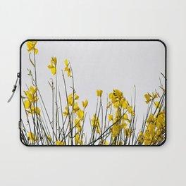 Minimal Garden -Yellow Version - Black Stems with Yellow Petals On White #decor #society6 #buyart Laptop Sleeve