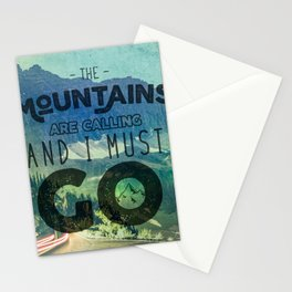 The Mountains are Calling And I Must Go Blue Stationery Cards