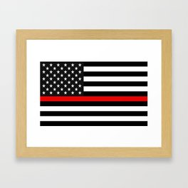 Thin Red Line American Flag Framed Art Print