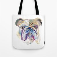 bulldog Tote Bags featuring Bulldog by coconuttowers