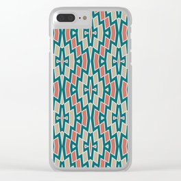 Fragmented Diamond Pattern in Teal, Coral and Tan Clear iPhone Case