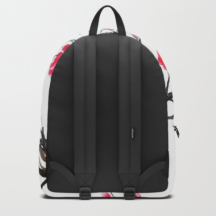 bamboo and red plum flowers in pink background Backpack