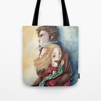 les miserables Tote Bags featuring les miserables by Fabiana Attanasio