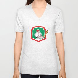 Baseball Player Batting Crest Cartoon Unisex V-Neck