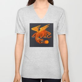 Pixel Fiery Dragon Unisex V-Neck
