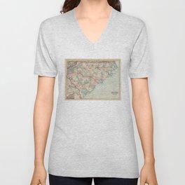 Vintage Map of the Carolinas (1872) Unisex V-Neck