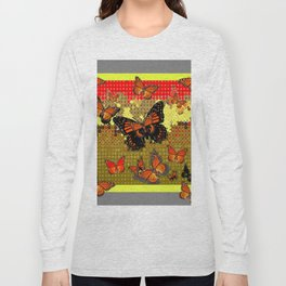 Abstracted Black & Orange Monarch Butterflies Red Long Sleeve T-shirt