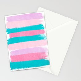 Stripes turquoise pink bright pink pastels beach spring summer trendy color palettes Stationery Cards