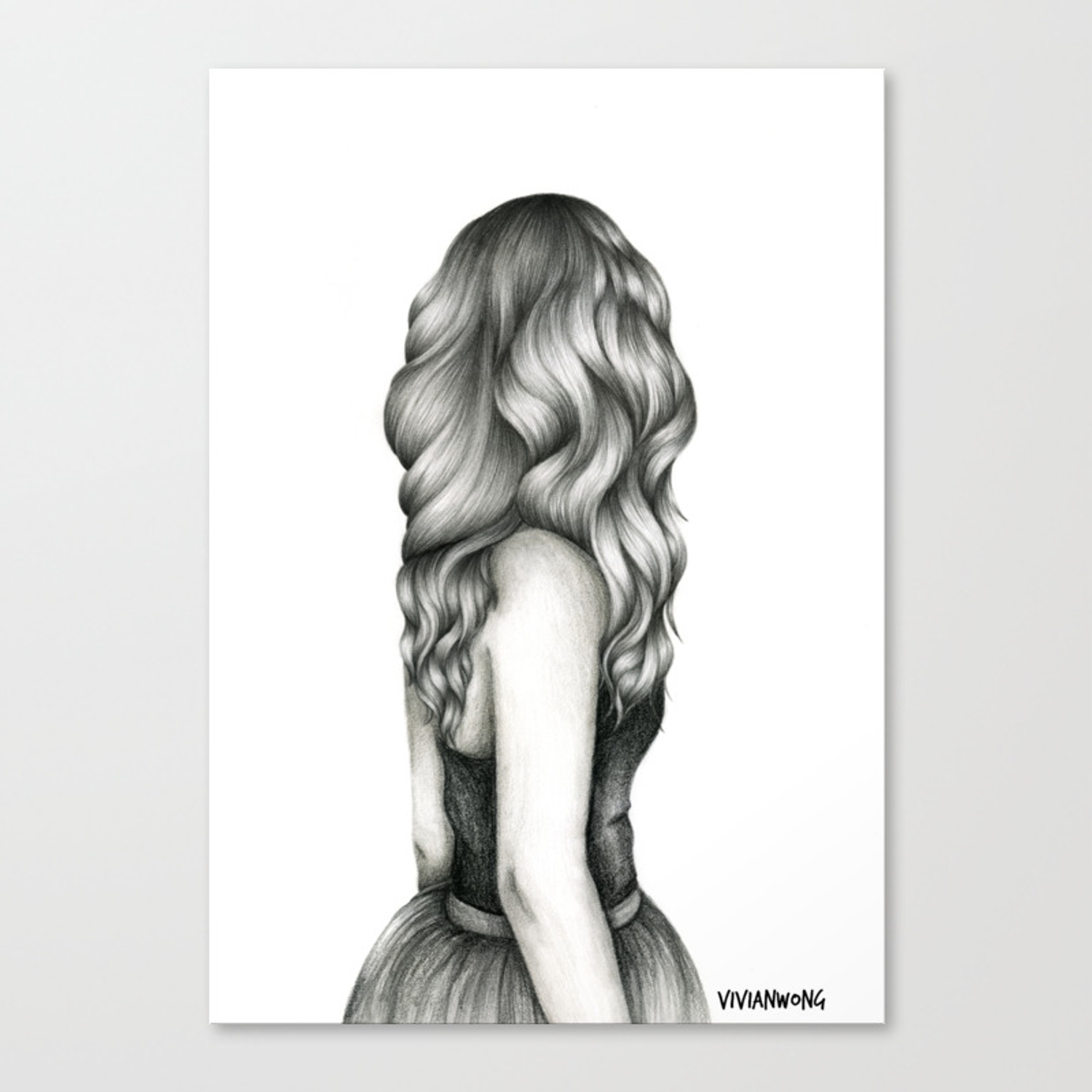 Black white pencil sketch wavy hair girl canvas print