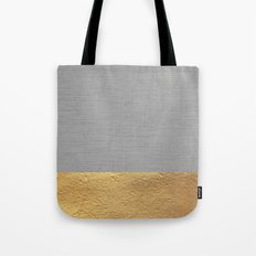 Color Blocked Gold & Grey Tote Bag