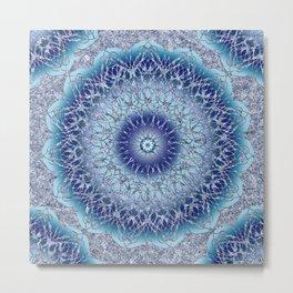 Frosted Lotus Mandala Blue Metal Print