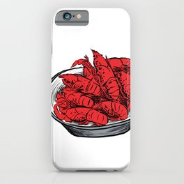 Illustration of Chinese Snack - Thirteen Spices Crayfish | 十三香小龙虾 iPhone Case