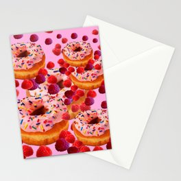 DELICIOUS PINK PASTRY & RASPBERRIES DESSERTS Stationery Cards