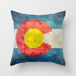 Colorado State flag - Vintage retro style Throw Pillow