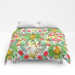 Exotic watercolor floral with tropical fruits and flowers Comforters
