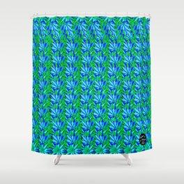 Cannabis Print Green and Blue Shower Curtain