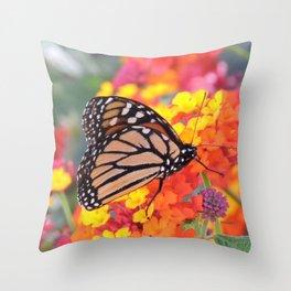 Monarch Feeding on Lantana Throw Pillow