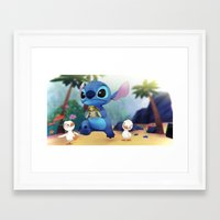 stitch Framed Art Prints featuring Stitch by beastace