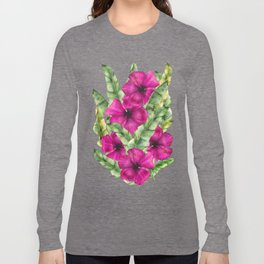 green banana palm leaves and pink flowers Long Sleeve T-shirt