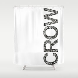 word crow from a Ffock of crows Shower Curtain