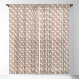 Cavern Clay SW 7701 and Accent Colors Abstract Rippled Diamond Square Grid Pattern Sheer Curtain