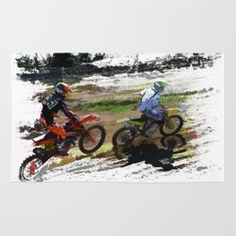 On His Tail - Motocross Sports Art Rug