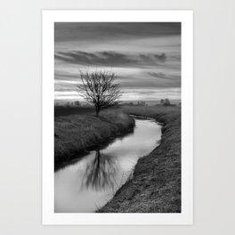 Sunrise On The River (Black & White) Art Print
