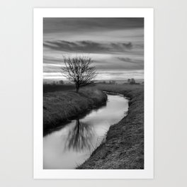 Sunrise On The River (Black & White) Art Print