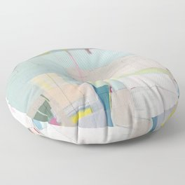 """""""over flow"""" abstract painting in robin's egg, mint, blush, white, and yellow Floor Pillow"""