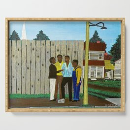 American American Masterpiece 'Harmonizing' portrait painting by Horace Pippin Serving Tray