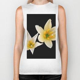 White flowers with black Biker Tank