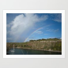 HONOLUA BAY DOUBLE RAINBOW Art Print