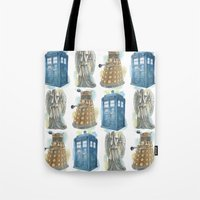 dr who Tote Bags featuring Dr Who by Iris Illustration