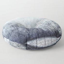 Foggy Winter Landscape with snow covered Trees Floor Pillow